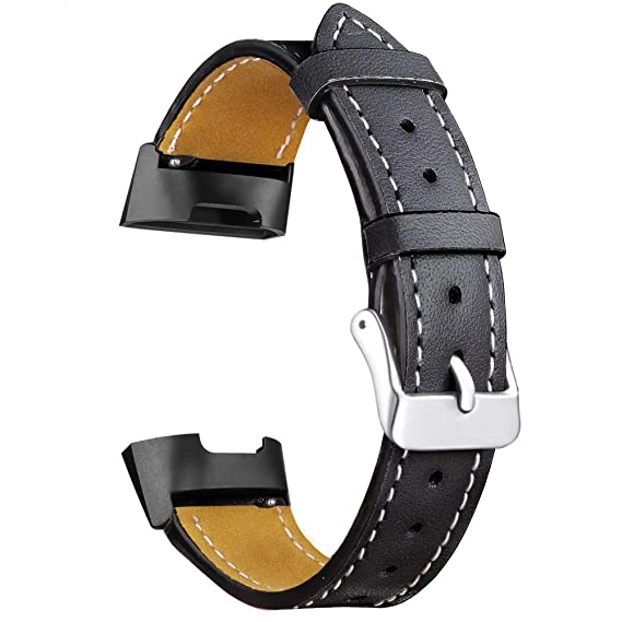 Oitom Leather Bands Compatible Fitbit Charge 3 /Charge 3 SE Band Women Men  Small Large,Premium Leather Replacement Band Wrist Accessories