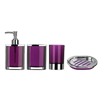 purple plastic with chrome effect 4pc bathroom set includes lotion dispensertumblertoothbrush holder