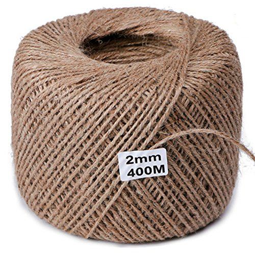 Twine String for Crafts Gardening 1,312ft Jute Natural Rope Mason Line for Lights Wine Gift 2mm Thick Strings Twines Durable Packing Wrapping Ribbon Christmas Wedding Garden Decorate - Glasses Decorate Frames
