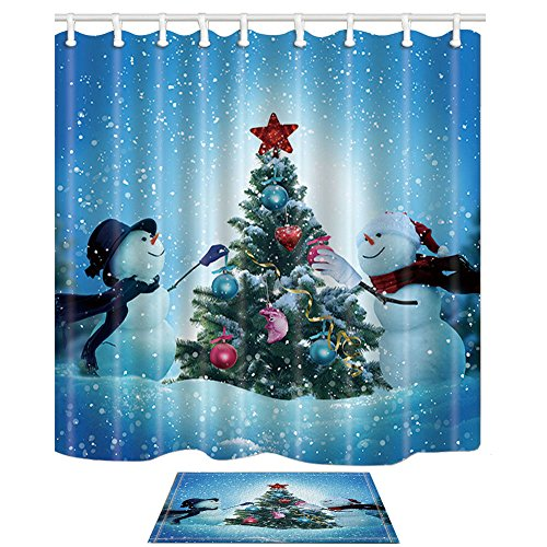 Wholesale KOTOM Winter Christmas Snow Landscape Decor, Snowmen Decorating a Christmas Tree for Love, 69X70in Mildew Resistant Shower Curtain Suit With 15.7x23.6in Flannel Non-Slip Floor Doormat Bath Rugs hot sale