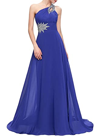 ASVOGUE Womens Rhinestone Trim One Shoulder Prom Dress, Royal Blue L