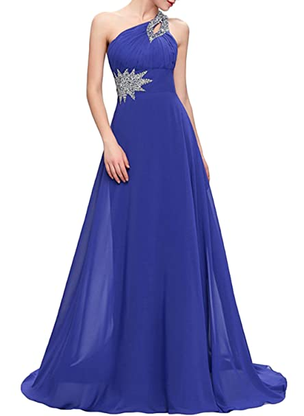 ASVOGUE Mujer Vestido de Fiesta Solo Hombro Adorno con Diamantes Falsos,azul real S