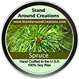 Premium 100% All Natural Soy Candle - 8 oz Tin Spruce - Capture the spirit of the holidays w/ this strong, true, and enchanting scent. Contains natural cedarwood and pine essential oils.