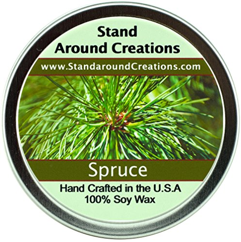 Premium 100% All Natural Soy Candle - 8 oz Tin Spruce - Capture the spirit of the holidays w/ this strong, true, and enchanting scent. Contains natural cedarwood and pine essential oils. by Stand Around Creations