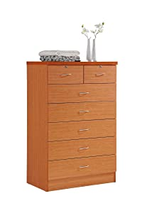 Hodedah 7 Drawer Chest, Five Large Drawers, Two Smaller Drawers with Two Locks, Cherry