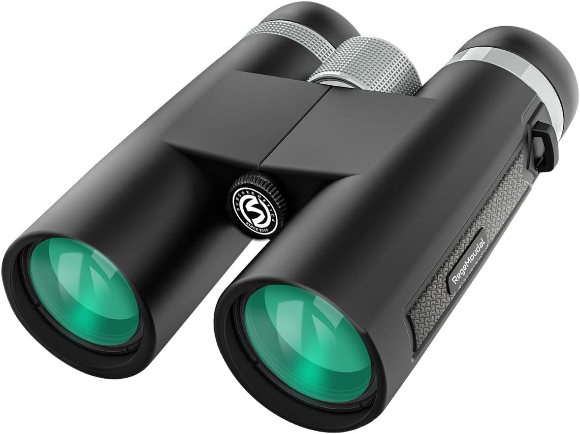 RegeMoudal 12×42 HD Binoculars for Adults, Waterproof Compact Binoculars with Clear Weak Light Vision, Suitable for Bird Watching Hunting Traveling – Prism Bak4 FMC Lens with Smartphone Adapter