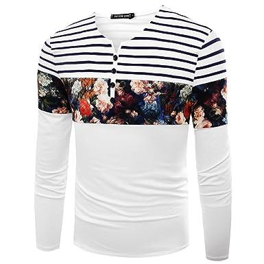 Honghu Hombre Camiseta Mangas Largas Algodón Casual Polo T-Shirts ...