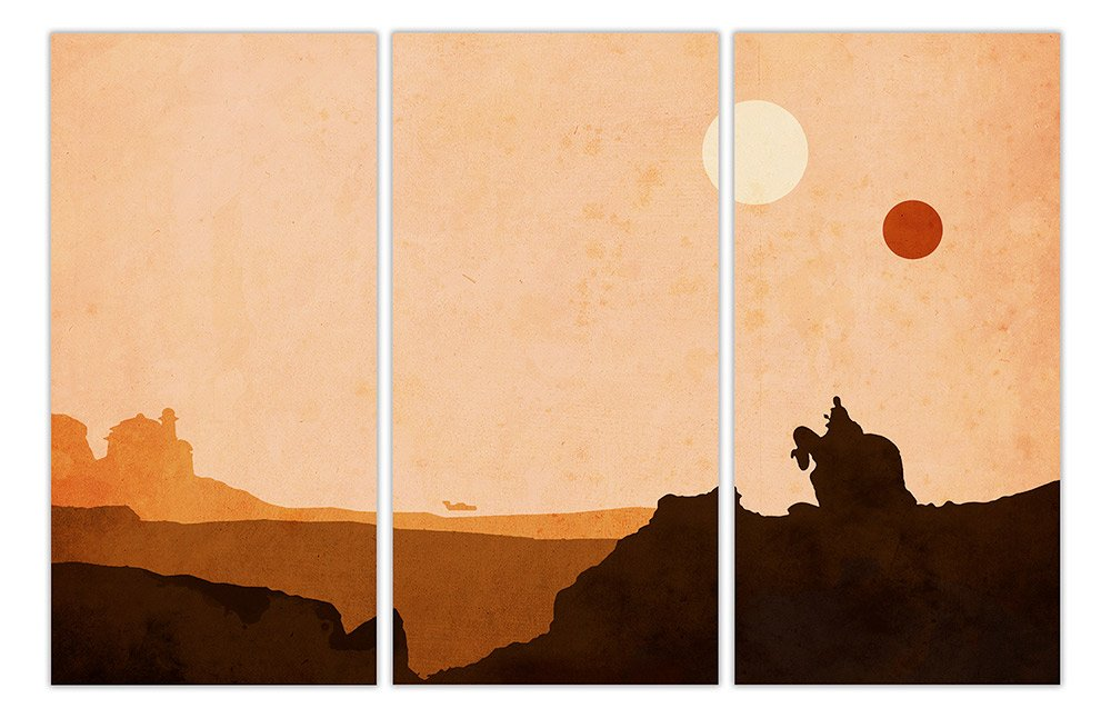 "Tatooine Star Wars Desert World 3 Panel Gerahmter Leinwand Leinwand Leinwand Prints Movie Bilder Film Poster Wall Art, canvas holz, 5- 3 X 40"" X 20"" (3 X 102CM X 50CM) 43a252"