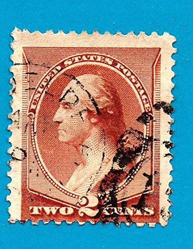 US Postage Stamp 1883 Washington Red Brown 2 Cent Scott 210
