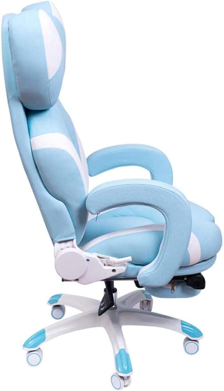 Gaming président, jeu ergonomique Chaise Chaise Canapé Ordinateur Game Chair Chaise pivotante Chaise longue Chaise de bureau Chaise à genoux (Color : Greenb) Blueb