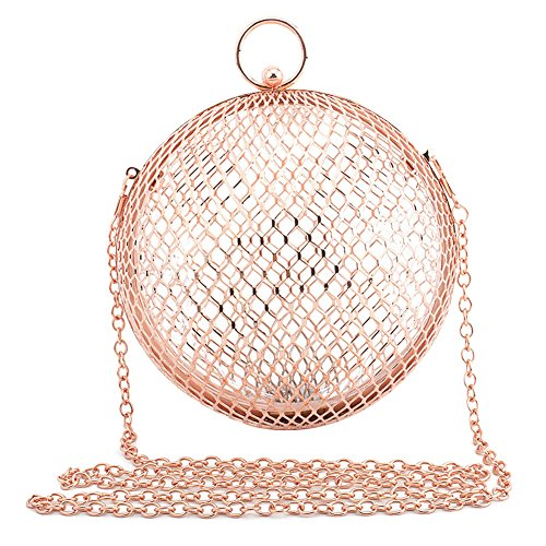 (ZAKIA Women' Round Shape Metal Cage Evening Bag Clutch Handbag Wedding Party Purse (Rose Gold) )