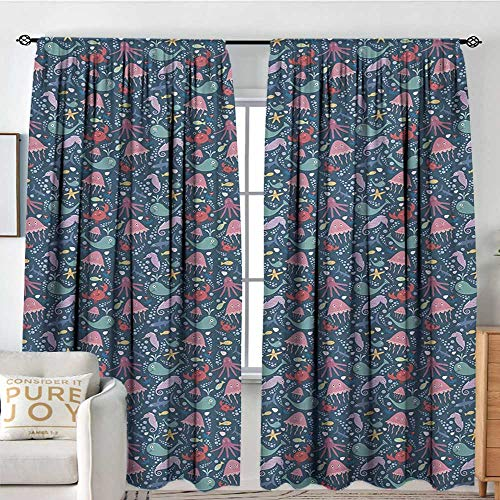 (Blackou Curtains Nautical,Underwater Wildlife Theme Marine Cartoon Pattern with Various Funny Sea Animals,Multicolor,Wide Blackout Curtains, Keep Warm Draperies,Set of 2 Panels 60
