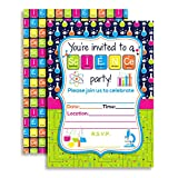 Amanda Creation Science Themed Birthday Party Fill in Invitations set of 10 with envelopes
