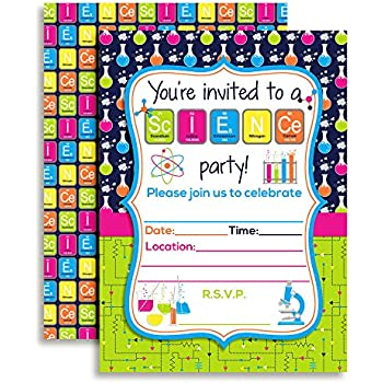 Amazon science themed birthday party fill in invitations set of science themed birthday party fill in invitations set of 10 with envelopes filmwisefo
