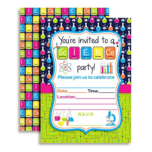 Amanda Creation Science Themed Birthday Party Fill in Invitations set of 10 with envelopes by Amanda Creation