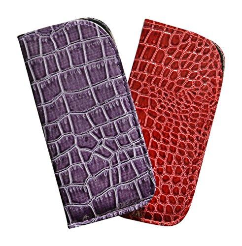 2 Pack Soft Slip In Eyeglass Case For Women & Men - Glossy Croco In Purple & Red