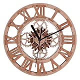 gears wall clock - Giftgarden Gear Wall Clock Round Shaped Wooden handmade for Housewarming Wall Decorative Clocks