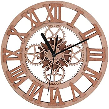 giftgarden gear wall clock round shaped wooden handmade for housewarming wall decorative clocks - Decorative Clocks