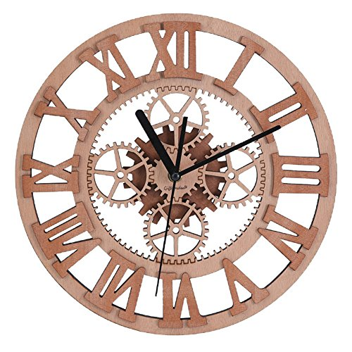 Giftgarden Gear Wall Clock Round Shaped Wooden Handmade for Housewarming Wall Decorative Clocks