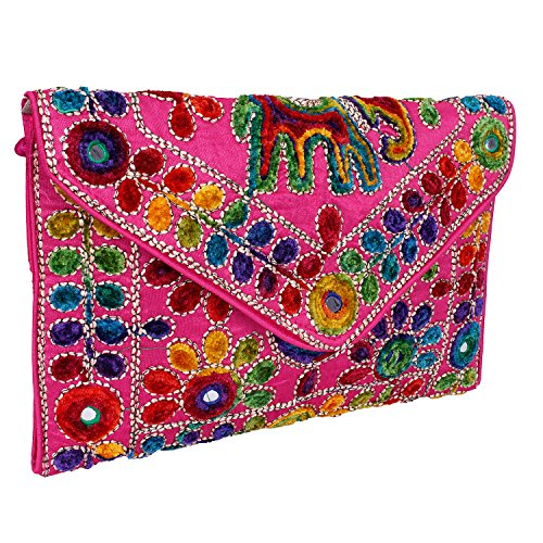 (Pink Women Banjara Clutch Bag In Rajasthani Style Magenatic Closure Foldover Clutch Purse -Quality Checked)