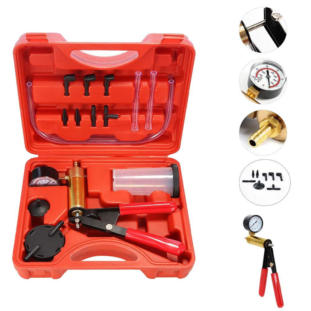 Beduan 15pcs Brake Bleeder Kit Hand Held Vacuum Pump Tester with Adapters for Automotive