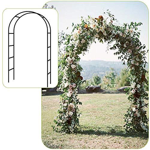 Seeutek Lightweight Metal Garden Arch, 4' 6'' Wide x 7' 11'' High Garden Arbor for Various Climbing Plant, Lawn Backyard, Wedding Party Decoration (Metal White Garden Arch)