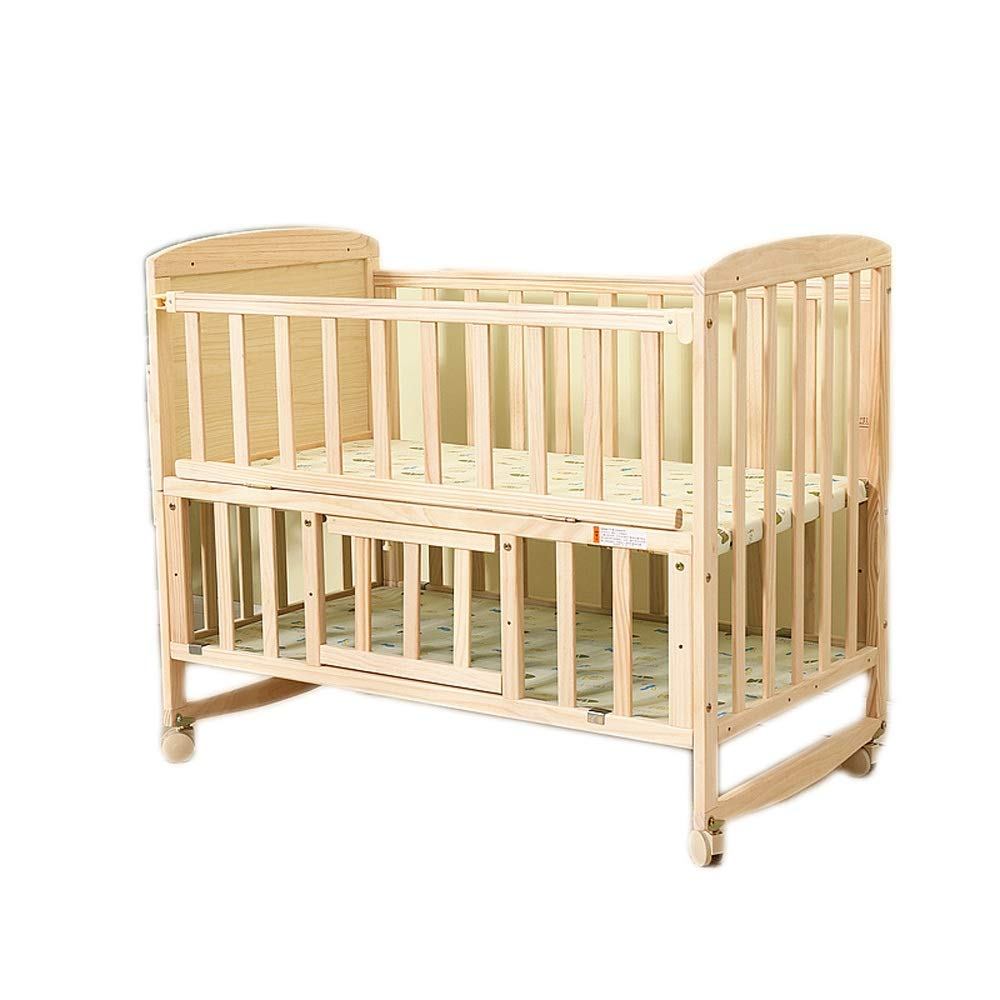 Baby Cot Wood Baby Rocking Crib Bassinet Bed Sleeper Born Portable No Spray Paint Multifunction 2-Tier Bed Suitable for Babies to Sleep A Good Gift for Your Baby by Jdeepued