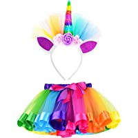Loveyal Little Girls Layered Rainbow Tutu Skirts with Unicorn Horn Outfit Princess Ballet Dance Costumes (Rainbow M2-4 Years)