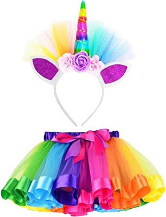 (L,4-8 Years, Rainbow) - Loveyal Little Girls Layered Rainbow Tutu Skirts with Unicorn Horn Headband