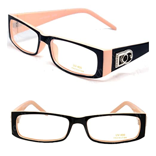 09a2821face9 Amazon.com: Womens DG Clear Lens Frames Eye Glasses Rectangular Nerdy Beige  Tan Fashion: Clothing