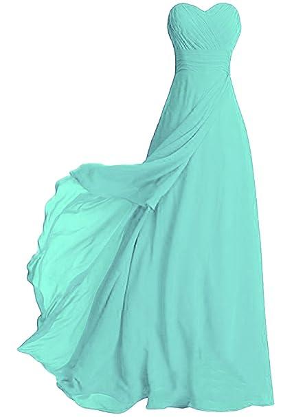 789ca7eb5a ASVOGUE Mujer Vestido de Fiesta Largo de Damas de Honor Color Sólido sin  Tirantes