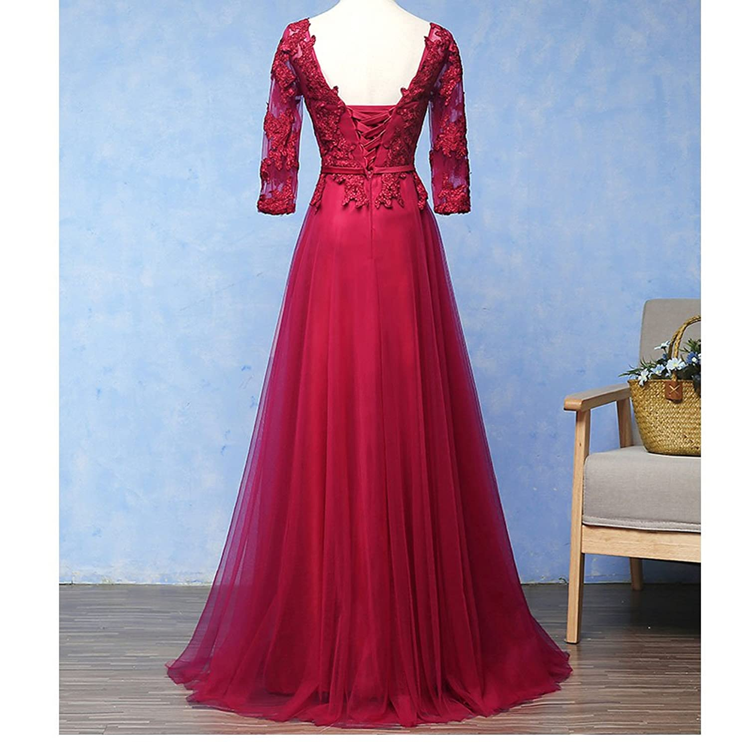 nymph Womens A-line Floor Length With Sleeves Elegant Formal Evening Dresses at Amazon Womens Clothing store: