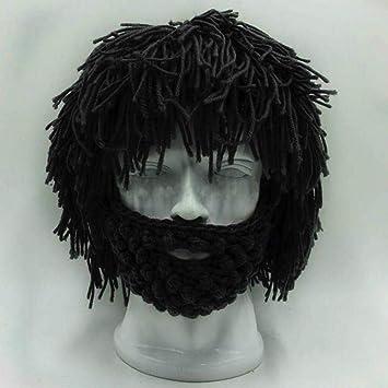 b188275ba61 Cool Gift Wig Beard Men s Hats Hobo Mad Scientist Caveman Handmade Knit  Warm Winter Caps Men
