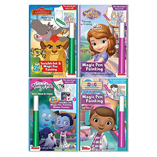 Disney Junior Characters Magic Pen Painting Activity Books for Girls & Boys with Zipafile Zipper Bag. Includes: Vamprina, Lion Guard, Doc McStaffins & Sofia the First coloring books.