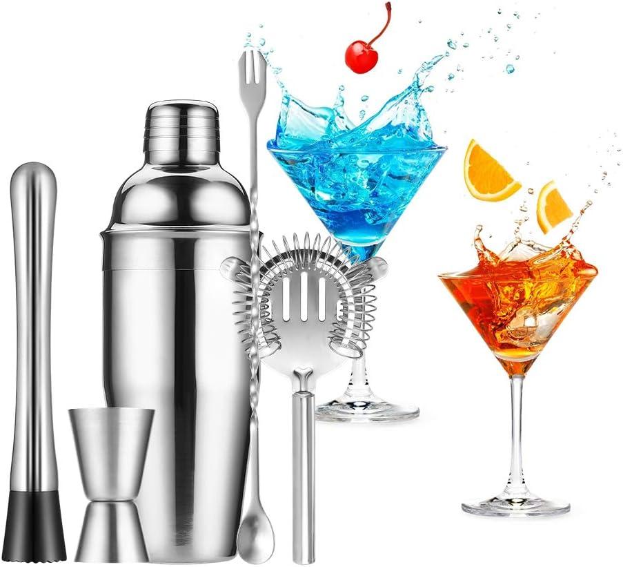 Compra Gomyhom Juego de Coctelera, Coctelera de Cóctel 750ml, Kit Barman Profesional 12 Piezas, Coctelera Set con Soporte de Madera Juego de Regalo, Ideal para Bar, Hogar Mezclar Bebidas (5 Piezas) en