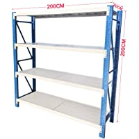 2Mx2M Metal Warehouse Racking Storage Garage Shelving Steel Shelf 800kg Shelves (Blue + Grey)