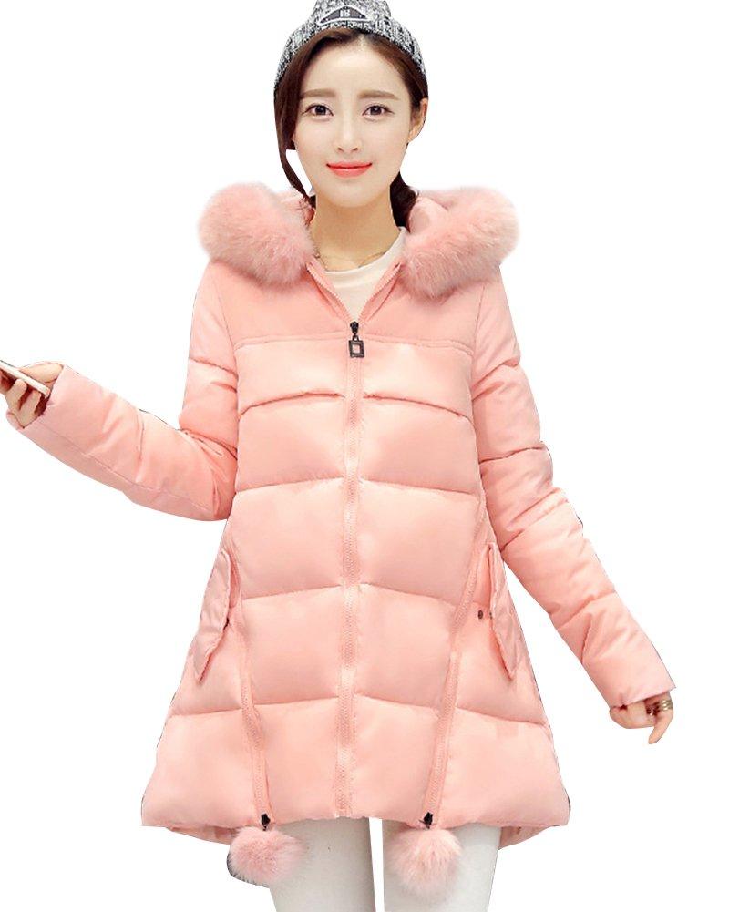 Mujer Largo Abrigo Chaqueta Con Capucha De Piel Sintética Outerwear Espesar Parka con Cremallera