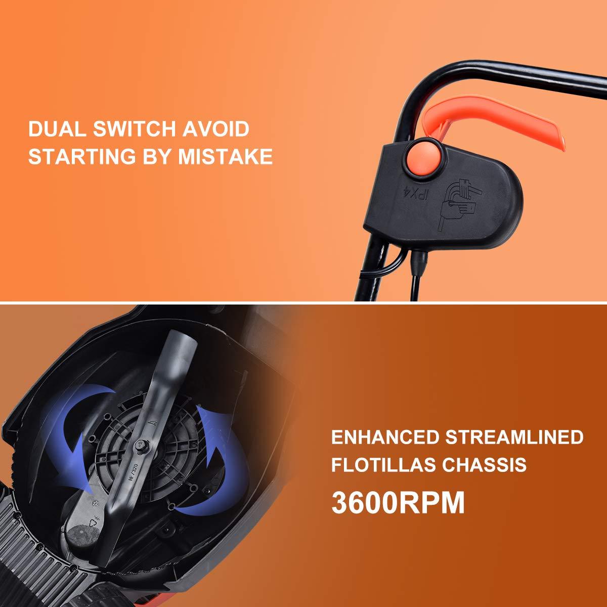 Amazon.com: Goplus - Cortacésped eléctrico de 14 pulgadas y ...