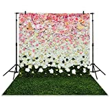 Funnytree 5x7ft Photography Backdrop flowers wall lawn interior grass wedding background props photocall photobooth Photo studio