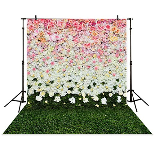 Funnytree 5x7ft Photography Backdrop Blossom Flowers Wall Lawn Interior Grass Wedding Background Props photocall photobooth Photo Studio