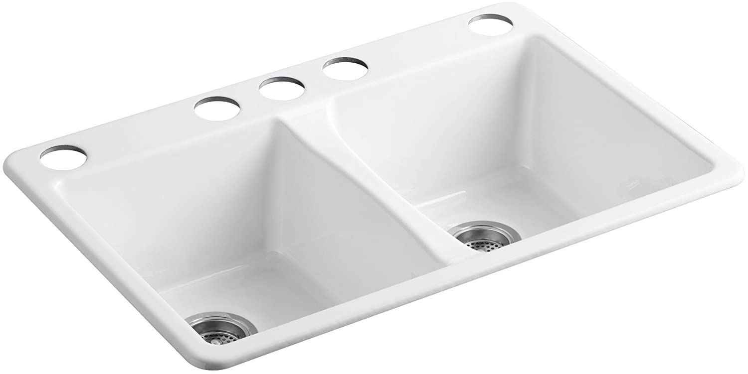 kohler k58735u0 deerfield double bowl undermount kitchen sink with five hole drilling white amazoncom