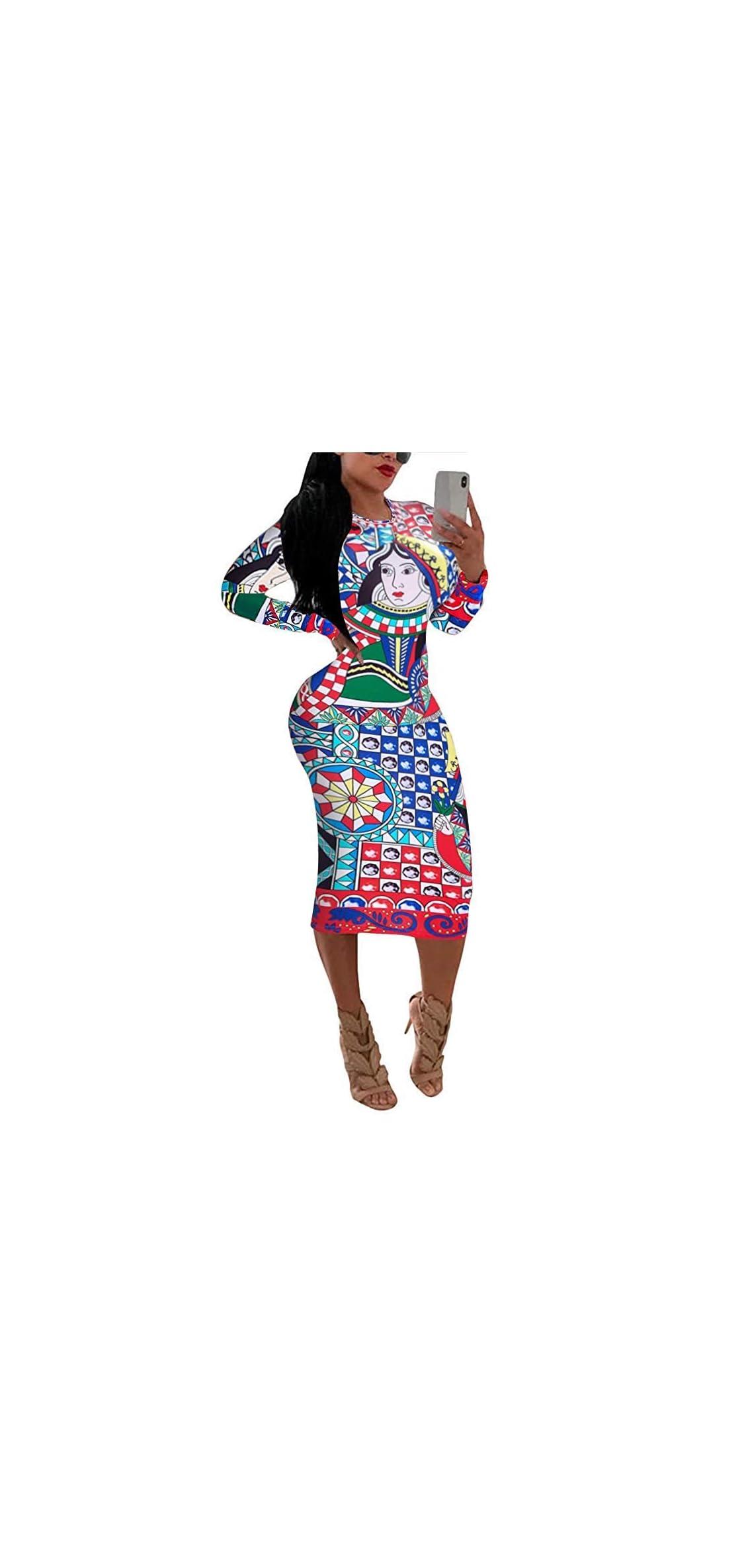 Dress For Women Elegant Long Sleeve - Stretchy African Floral
