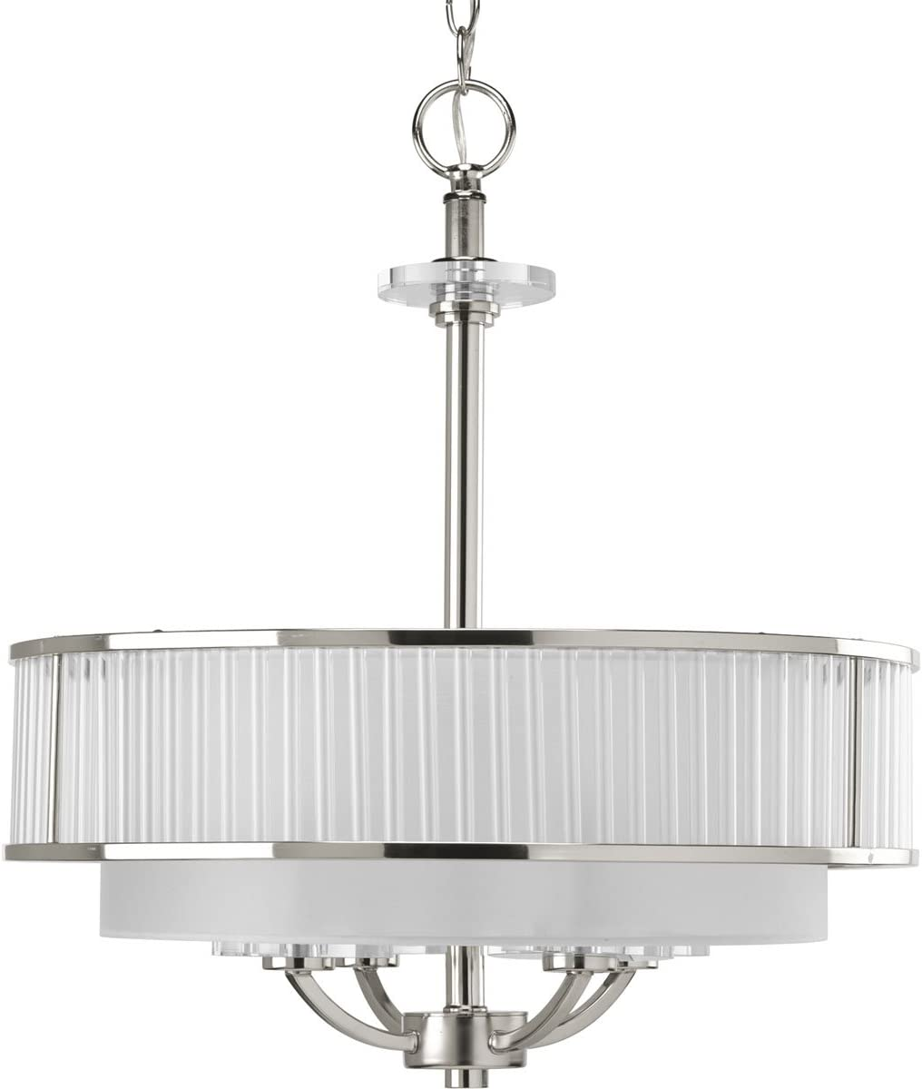 Progress Lighting 943881104 4 Light Pendant Features Clear Rods that Adorn a Chiffon Shade