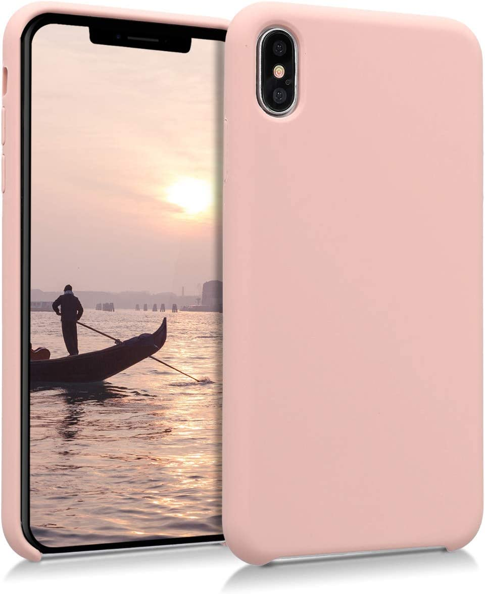 kwmobile TPU Silicone Case Compatible with Apple iPhone Xs Max - Soft Flexible Rubber Protective Cover - Dusty Pink
