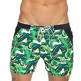 Taddlee Men Swimwear Swimsuits Surf Board Boxer Shorts Long Swim Trunks, Green, Medium