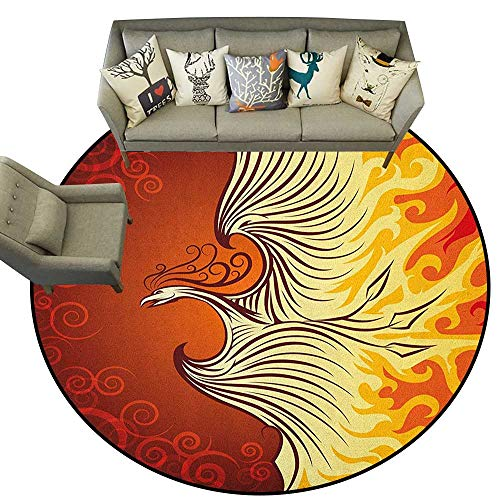 Orange,Living Room Round Rugs Illustration of Flying Phoenix Bird in The Burning Flame Mythical Creature Print D72 Home Decor Carpets Kids Play Rug