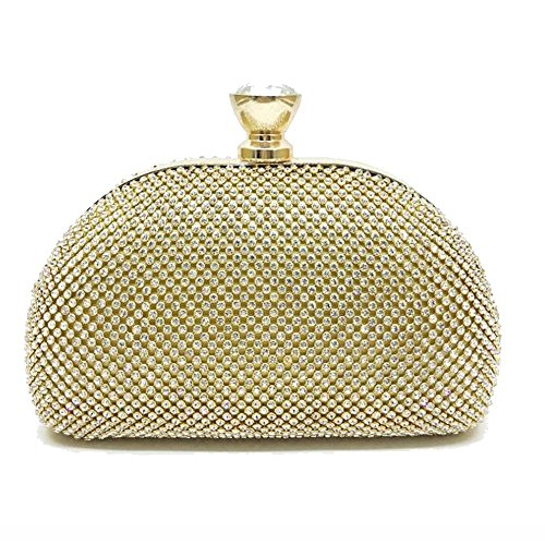 JUNBOSI Ladies Rhinestone Clutch Glitter Handbag Shiny Shoulder Bags Wallets For Ballroom Wedding Parties White, Yellow, Black (Color : Yellow, Size : One size) by JUNBOSI