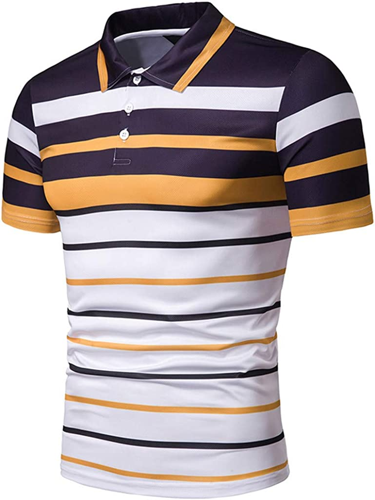 SANGQU Mens T-Shirt Stripe Short Sleeve Slim-Fit Quick-Dry Polo Shirt Tops