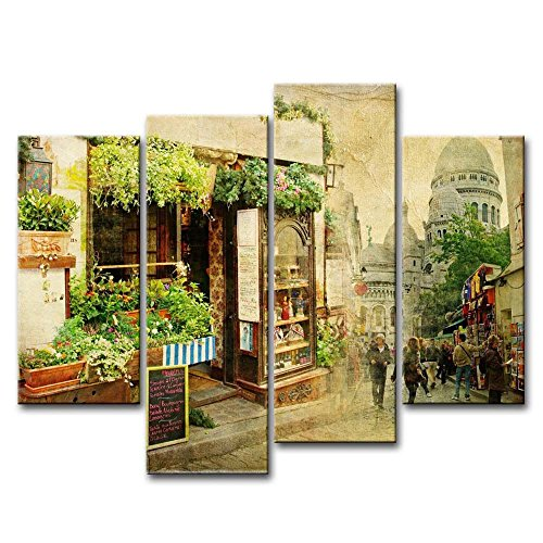 So Crazy Art 4 Piece Wall Art Painting Old City Street Small Restaurant France Prints On Canvas The Picture City Pictures Oil For Home Modern Decoration Print Decor by So Crazy Art