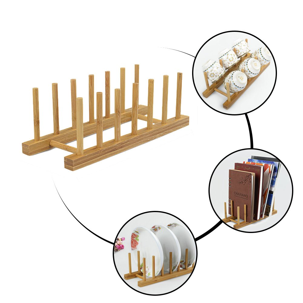 Natural Bamboo Dish Rack, Kitchen Drawer Organizer, Cutting Boars Cabinet Plate Cooking Lid Dry Display Holder, Pan Pot Bowl Food Drainer Drying Stand, Book CD Bottle Toy Cabinet Storage, Easy Install